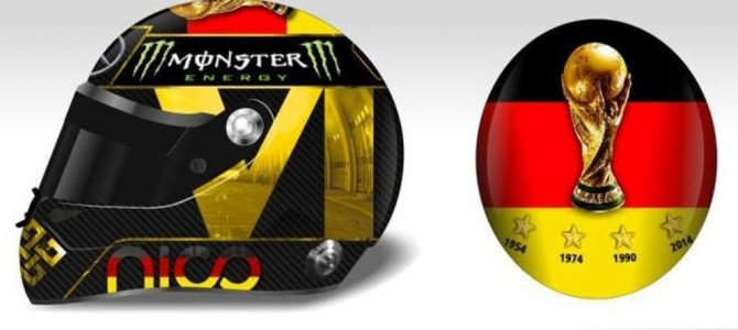 Nico Rosberg tweaks special German World Cup-winning crash helmet after FIFA claim