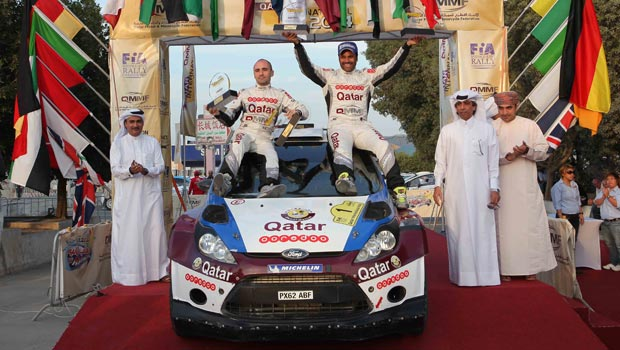 Nasser Saleh Al Attiyah and Giovanni Bernacchini winning the 2014 QMMF Qatar International Rally.