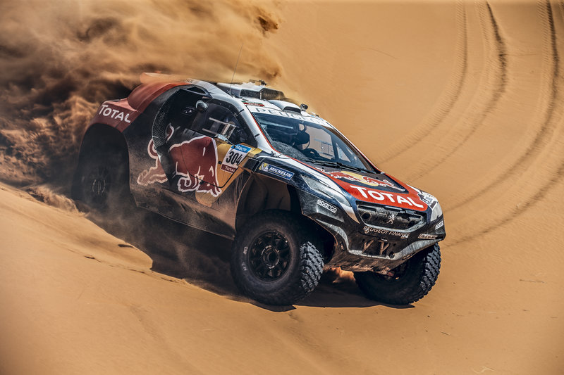 Sebastien Loeb performs during the Peugeot test in Arfoud, Morocco