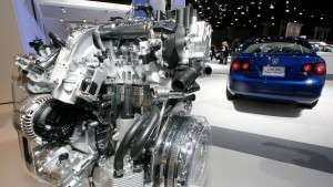 Jetta TDi engine displayed at the Los Angeles Autoshow