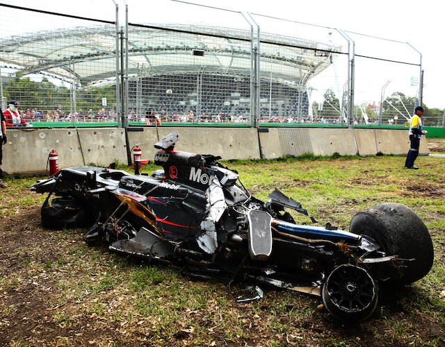 Alonso's car after his horror crash (Gertty images)