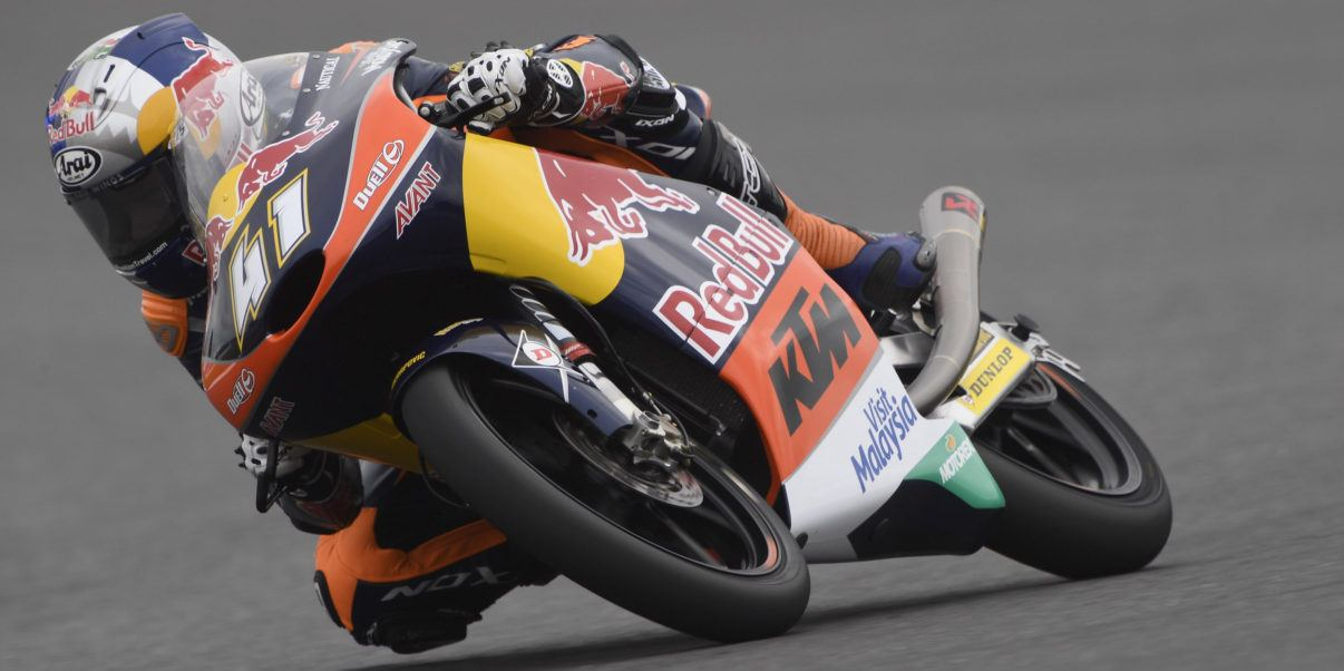 NORTHAMPTON, ENGLAND - SEPTEMBER 02:Brad Binder of South Africa and Red Bull KTM Ajo rounds the bend during the MotoGp Of Great Britain - Free Practice at Silverstone Circuit on September 2, 2016 in Northampton, England.  (Photo by Mirco Lazzari gp/Getty Images)