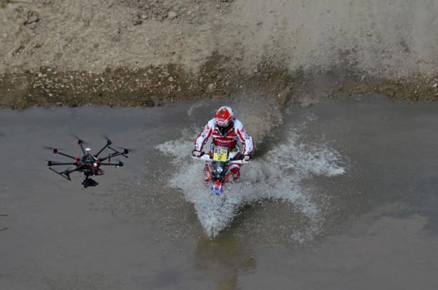 biker-and-drone-in-water