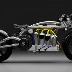 Electric motorcycle recalls the past with V-8-like design