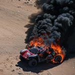 PLUME buggy! Driver and navigator leap unscathed from 4×4 moments before it bursts into flames just 40 miles into first leg of Dakar 2020 rally
